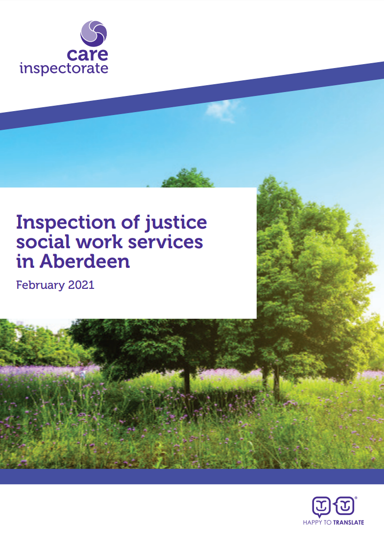Inspection of justice social work services cover